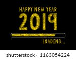 chalk drawing  new year 2019... | Shutterstock . vector #1163054224