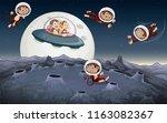monkey travel in space... | Shutterstock .eps vector #1163082367