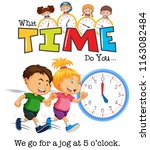 children jogging at 5 o'clock... | Shutterstock .eps vector #1163082484