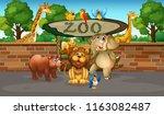 happy animals in the zoo... | Shutterstock .eps vector #1163082487