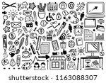 office doodle icon clip art set ... | Shutterstock .eps vector #1163088307