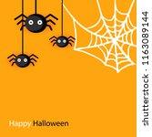 happy halloween spider web and... | Shutterstock .eps vector #1163089144