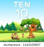 ten monkey at the forest... | Shutterstock .eps vector #1163105857