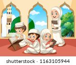group of muslim children at... | Shutterstock .eps vector #1163105944