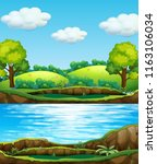 a nature water view illustration | Shutterstock .eps vector #1163106034