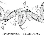 seamless black and white leaves ... | Shutterstock .eps vector #1163109757