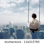 freedom business woman on a... | Shutterstock . vector #116315785