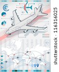 Detailed illustration of a info graphic set elements with airplane in various colors