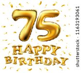 raster copy happy birthday 75th ... | Shutterstock . vector #1163193061