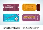set of colorful tickets on... | Shutterstock . vector #1163220844