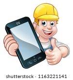 a plumber or handyman holding a ... | Shutterstock .eps vector #1163221141
