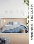 pouf on carpet in bedroom... | Shutterstock . vector #1163223514