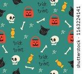 halloween seamless with head... | Shutterstock .eps vector #1163224141