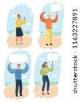 vector cartoon set illustration ... | Shutterstock .eps vector #1163227891
