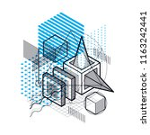 abstract design with 3d linear... | Shutterstock .eps vector #1163242441