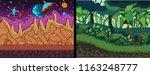 pixel art backgrounds set.... | Shutterstock .eps vector #1163248777