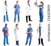 Collection of full length portraits of doctors - stock photo
