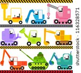 army,automobile,backhoe,blade,bucket,cartoon,caterpillar tracks,collection,colorful,concrete,continuous tracks,crane,cute,delivery,drawing