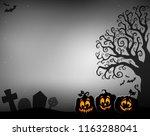 halloween tree half silhouette...   Shutterstock .eps vector #1163288041