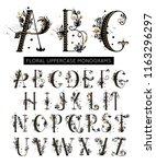 alphabet. hand drawn floral... | Shutterstock .eps vector #1163296297
