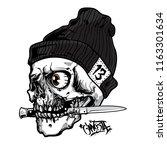 gangsta skull  bite the knife   Shutterstock .eps vector #1163301634