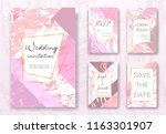 pink and gold marble invite... | Shutterstock .eps vector #1163301907
