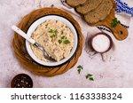 traditional millet porridge... | Shutterstock . vector #1163338324