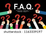 human hands holding question... | Shutterstock .eps vector #1163339197
