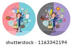 a set of middle women who... | Shutterstock .eps vector #1163342194