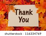 thank you card with fall leaves ... | Shutterstock . vector #116334769