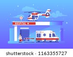 hospital building with... | Shutterstock .eps vector #1163355727