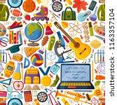 back to school seamless pattern ... | Shutterstock . vector #1163357104