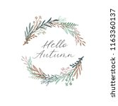 hello autumn calligraphy text....   Shutterstock .eps vector #1163360137