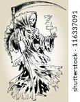 Grim Reaper In Cloak With Scythe