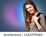 pretty young female student on... | Shutterstock . vector #1163379364