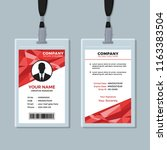 red abstract geometric id card... | Shutterstock .eps vector #1163383504