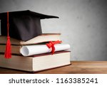 graduation cap  hat with degree ... | Shutterstock . vector #1163385241