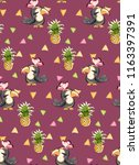 exotic pattern with cute toucan ... | Shutterstock .eps vector #1163397391