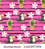 exotic pattern with cute toucan ... | Shutterstock .eps vector #1163397394