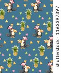 exotic pattern with cute toucan ... | Shutterstock .eps vector #1163397397