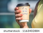 personified take away coffee... | Shutterstock . vector #1163402884