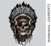 Indian Cherokee With Skull Face