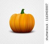 realistic orange vector pumpkin ... | Shutterstock .eps vector #1163403007