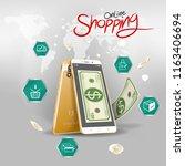 shopping online on website or... | Shutterstock .eps vector #1163406694