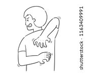 vector of man scratching back | Shutterstock .eps vector #1163409991