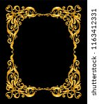 gold vintage frame on black  | Shutterstock .eps vector #1163412331