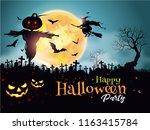halloween night mystery... | Shutterstock .eps vector #1163415784