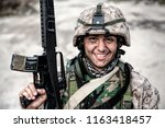 smiling army soldier  united... | Shutterstock . vector #1163418457
