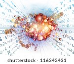 Digital Technology series. Composition of numbers, symbols and fractal elements suitable as a backdrop for the projects on science, information and modern technology - stock photo