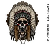 native american indian skull... | Shutterstock .eps vector #1163426251
